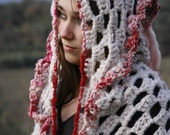 RESERVED LOVE Scarf with a Hood - Art yarn and crochet - RESERVED