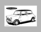 Mini - Austin Cooper - Black & White Drawing -MK 1