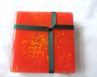 SALE! Glass Coasters Red Fusion set of 4
