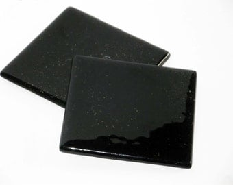 Glass Coasters Jet Black set of 2