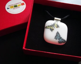 Butterfles Fused Glass Pendant