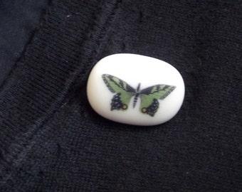 Green Butterfly Glass Brooch