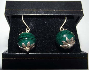 Green Glass Earrings Sterling Silver