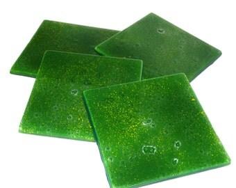 SALE! Glass Coasters Meadow Green Set of 4