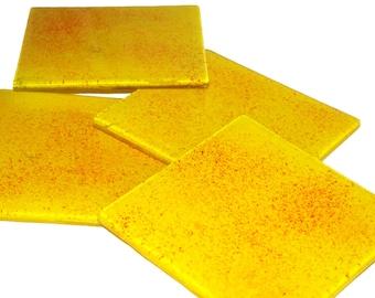 SALE!!! Glass Coasters Yellow Burst set of 4