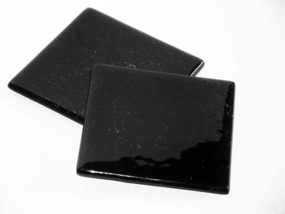 Glass Coasters Jet Black set of 2