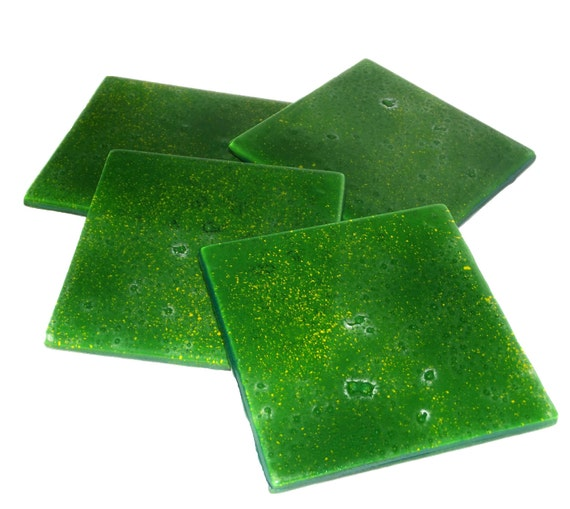 SALE! Glass Coasters Meadow Green Set of 4