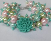 """Blue, Pink and Green Pearl Beaded Bracelet With Flower  - """"Blooming Beauty"""" - Designed by Jeana and Jacqui"""