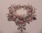 """Holiday Sale - Pink, White and Clear Snowflake Charm Bracelet With Earrings -""""Winter Pink"""" - Holiday - Designed by Jeana and Jacqui"""