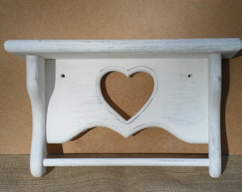 White Shabby Chic Shelf Beach Cottage Country Coastal Farmhouse Home Decor Romantic Heart Valentines Day Gift Wedding Gifts Love