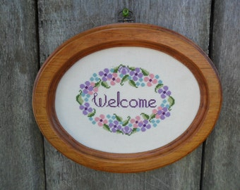 Vintage Welcome Cross Stitch Sign Purple Pink Green Aqua Pastel Floral Country Cottage Farmhouse Home Decor Spring Housewarming Gift 1980s