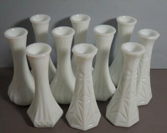 Vintage White Milk Glass Vases Wedding Instant Collection Set of Ten Cottage Home Decor Spring Summer Beach Destination Country Farmhouse