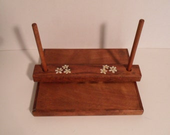Vintage Wood Floral Napkin Holder Beach Cottage Country Farmhouse Eco Friendly Organic Kitchen Office Home Decor Retro Birthday Gift