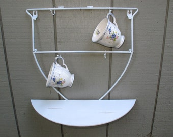 Tea Cup Display Shelf White Shabby Chic Mothers Day Birthday Gift French Country Home Decor Cottage Kitchen