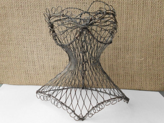 Vintage Black Self Standing Wire Corset Bust and Dress Form.