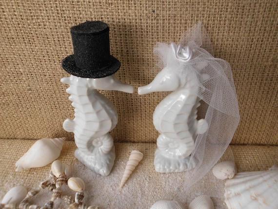 Beautiful Adorable White Tropical Kissing Seahorse Ceramic Wedding Cake Toppers Beach Seashore Coastal Centerpiece Destination Weddings