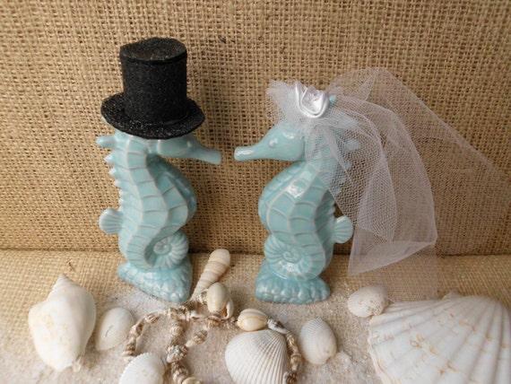 Weddings Wedding Cake Toppers Seahorse Aqua Turquoise Blue Beach Coastal Sea Ocean Nautical Romantic Tropical Destination Turquoise Kissing