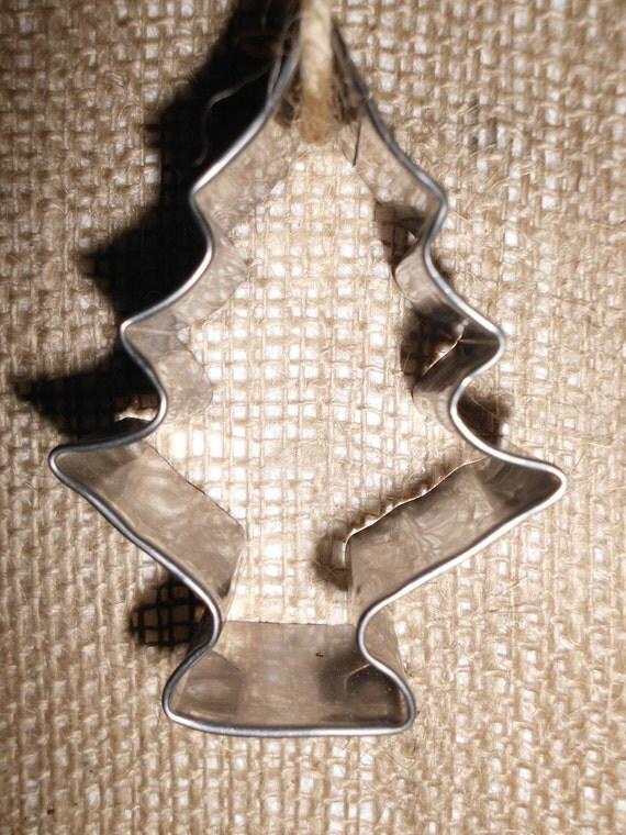 Vintage Tin Christmas Tree Ornaments : Vintage metal christmas tree cookie cutter ornament jute