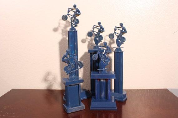 Navy Blue Boys Bedroom Home Decor BMX Trophy By