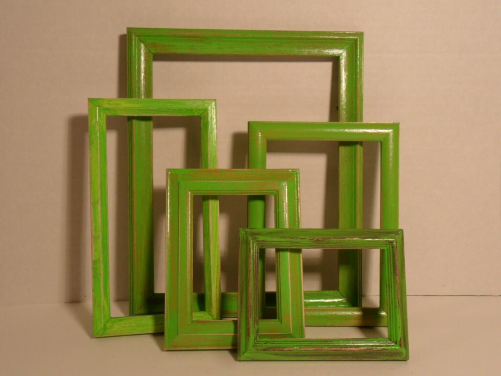 lime green picture frames shabby chic photo by elegantseashore