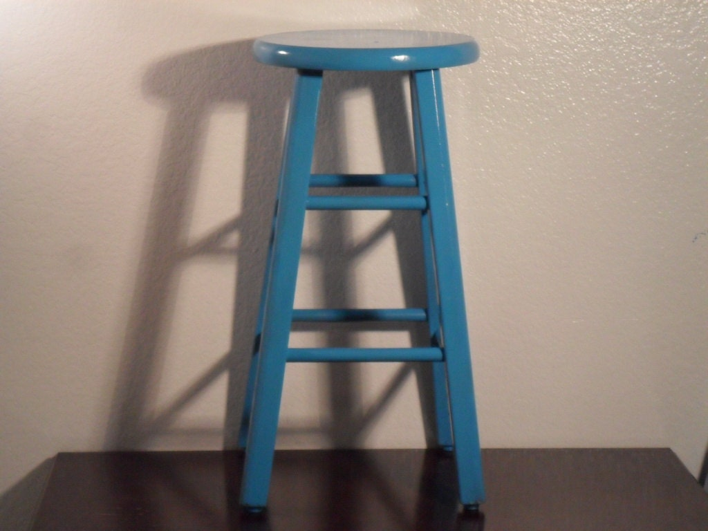 Beach House Rustic Aqua Turquoise Teal Blue Counter Bar Stool