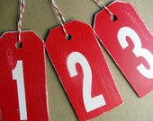 Wooden HaNG TaGS ... wedding table numbers...baby room....displays....by Wreckd on Etsy ...