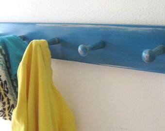 distressed hooks pegs MeDiuM PeG RaiL by Wreckd on Etsy...lagoon blue