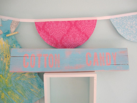 pink aqua girls room decor SiGN... Cotton Candy by Wreckd on Etsy ... ready to ship