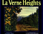 La Verne Lordsburg, Los Angeles County, La Verne Heights Orange Citrus Fruit Crate Box Label Art Print