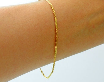 Gold-filled. Delicate Gold  Bracelet,  Thin and feminine, Minimum Jewelry, everyday jewelry, Gold Chain Bracelet, Skinny Chain bracelet