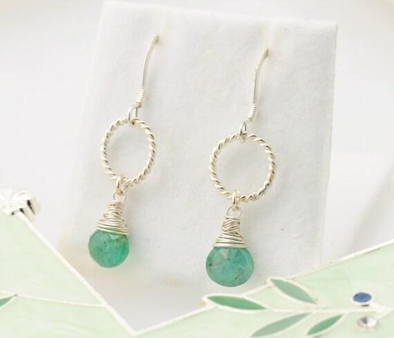 Green Sapphire Earrings - Silver. Heart Shaped Pear Briolettes. Sterling Silver. wire wrapped.  - Fifi LaBonge -
