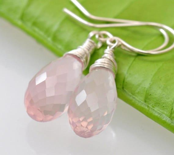 Rose quartz Earrings - Large Long pink stone briolettes drop earrings in sterling silver. wire wrapped. - Fifi LaBonge -