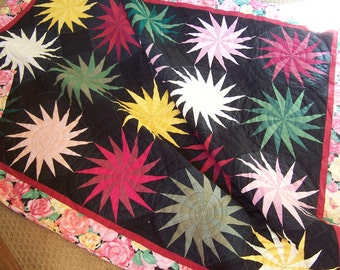 Star Quilt with black background, hand quilted, paper pattern pieced, ready to ship