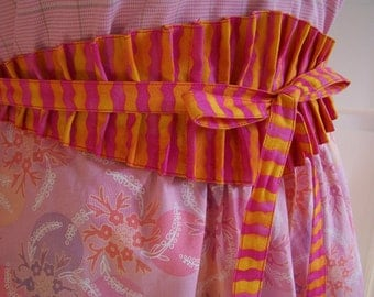 Pink Half Apron, Obi Women's Half Apron, Spring Passion Apron, Hot pink and Orange,  Ready to ship