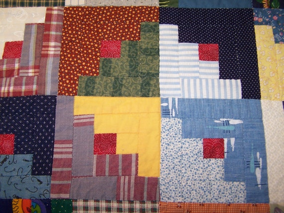 Log Cabin Quilt, Hand quilted, Traditional red center square, Blues and Greens, Yellow, Aqua, Multi