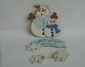 Warm Winter Wishes  Mr. & Mrs. Snowman Hand Painted Wood Cutouts
