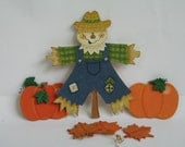 Scarecrow, Pumpkins With Fall Leaves Wood Cut Outs all hand painted