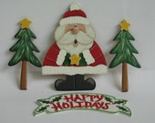 Happy Holidays Plac With Santa And Trees Hand Painted