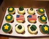 Handmade US ARMY Fondant Cupcake Toppers
