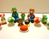 Handmade Super Mario Brothers Fondant Cupcake / Cake Toppers