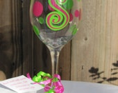 Custom Polka Dot Wine Glass With Initial