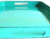 Vintage Lacquered Turquoise Tray. Japan, Housewares, Kitchenware, Serving Trays,Retro,Modern Design,Organizer