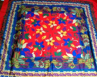 Vintage Colorful Floral Scarf. FREE Shipping