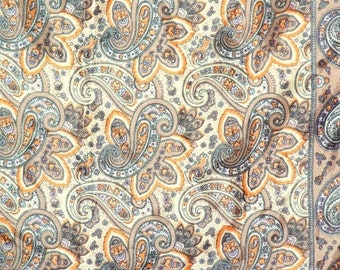 Vintage Satin Scarf with Paisley Design, Fall Trend, Fall Colors FREE Shipping (USA Only)
