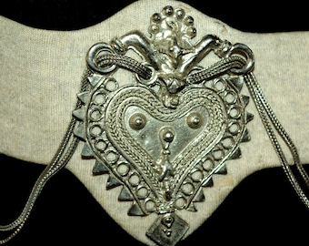 Vintage Belt with an Ornate Hearth  Shaped Silver Plate Embellishment. Valentine's Day