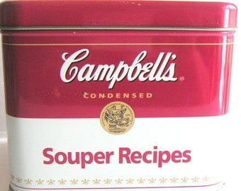 Vintage Campbell's Souper Tin Can With Campblell Cookbook, Recipe Cards and Dividers