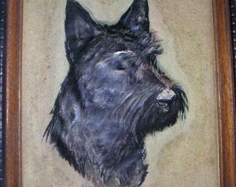 Vintage Scottie Dog in Wood Frame, Sottish Terrier,Scotty,Scottie,Black Dog,Dog Lovers,Pet Owners,Pet Parents. FREE Shipping