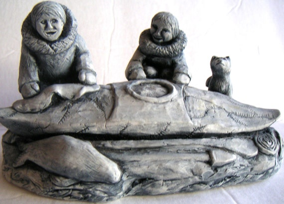 Vintage Glacial Ice Age Sculpture. Eskimo Couple with Dog. Crafted by hand for A.C.E. Alaska