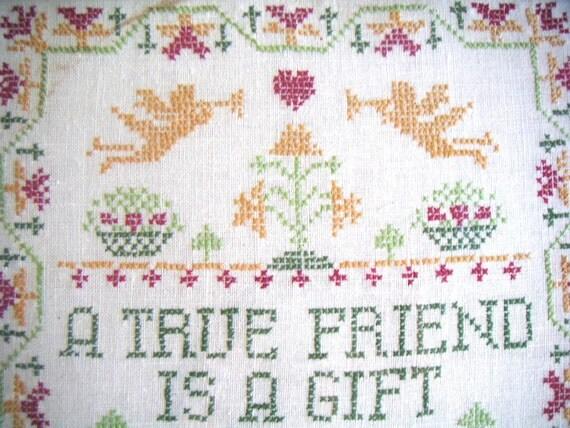 Vintage Cross Stitch,Framed Cross Stitch Sample,Folk Art,Friendship,Wall Hanging,Valentine's Day,BFF