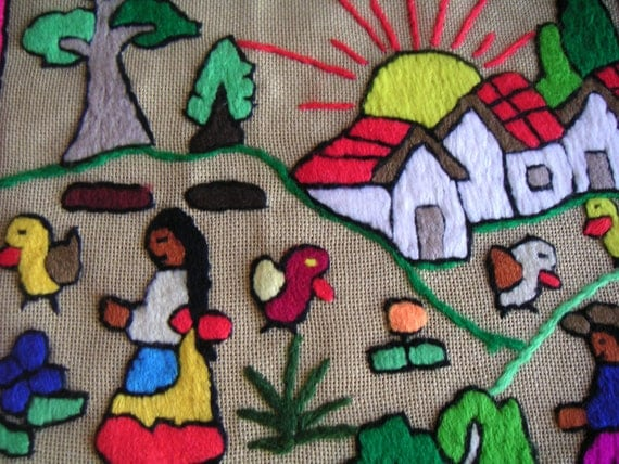 Vintage Hand Embroidered Wall Hanging (Unstretched),Farm Scene,Needlework,Art and Crafts,South American Needlepoint